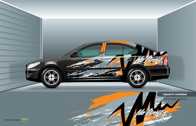 Maquete de um carro sedan preto em camadas, pronto para impressão ou corte em um plotter.