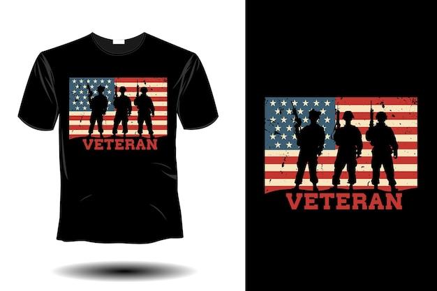 Maquete de veterano com design retro vintage