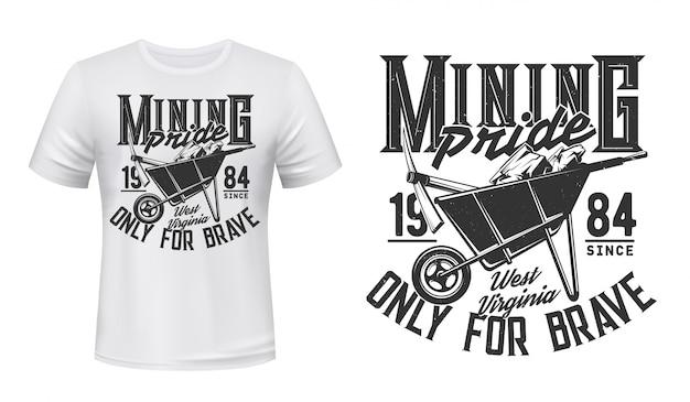 Maquete de vetor com impressão de camiseta de mineração, mineiro de carvão