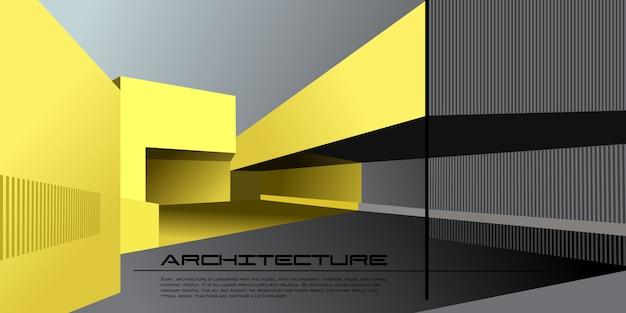 Maquete de vetor de arquitetura contemporânea para uma página inicial de layout ou folheto ou folheto de publicidade de design