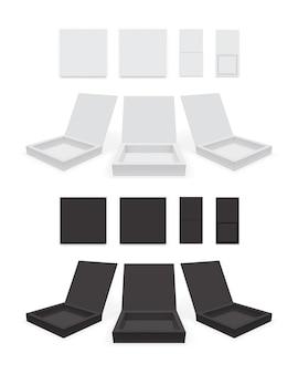Maquete de vetor de caixa de papel branco e preto aberto