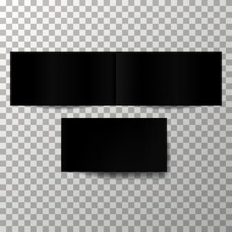 Maquete de vetor de capa preta em branco.