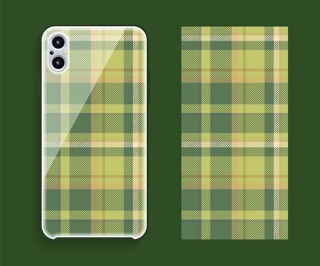 Maquete de vetor de design de capa de smartphone. padrão geométrico de modelo para parte traseira do telefone móvel. design plano.