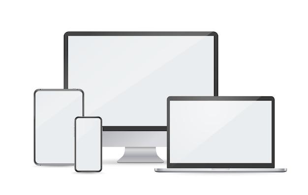 Maquete de vetor de dispositivos digitais modernos isolada no branco. smartphone. computador portátil. desctop. tábua