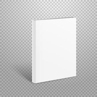 Maquete de vetor de livro fino em branco. livro de papel isolado em transparen