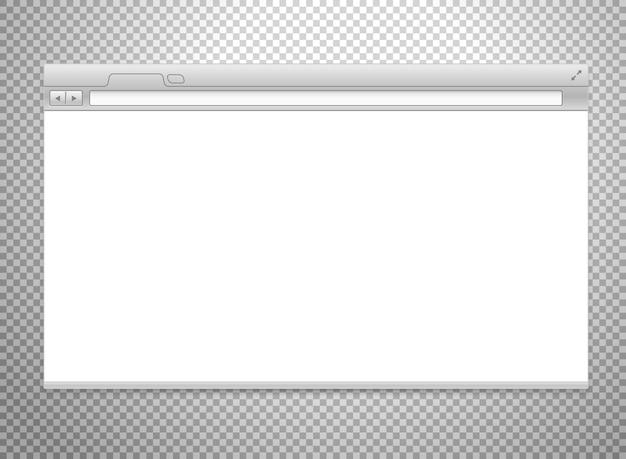 Maquete de vetor de navegador moderno isolado em fundo transparente