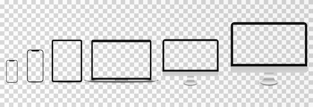Maquete de vetor de tela maquete de monitor de telefone, laptop e smartphone com tela em branco png