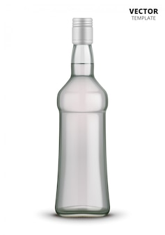 Maquete de vidro de garrafa de vodka isolada