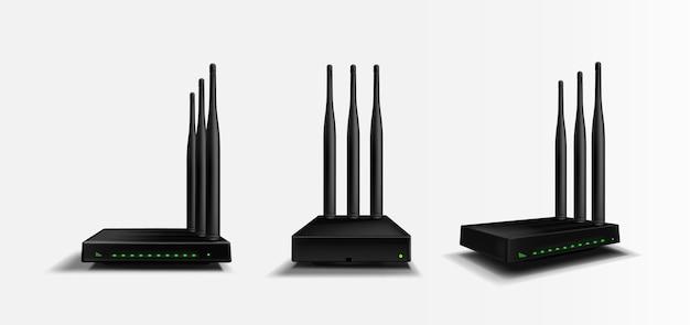 Maquete de vista frontal, angular e lateral do roteador wifi