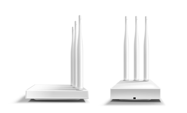Maquete de vista frontal e lateral do roteador wifi