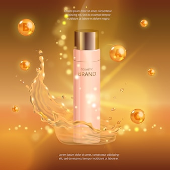Maquete digital de essência de óleo de colágeno, com sua marca, pronto para anúncios impressos ou revista.