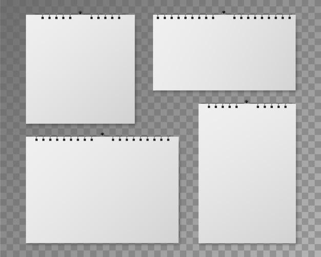 Maquete do calendário de parede. calendários espirais em branco de diferentes tamanhos. organizador de vista frontal das páginas do livro branco para evento, data do planejador do dia. modelo de vetor definido em fundo transparente