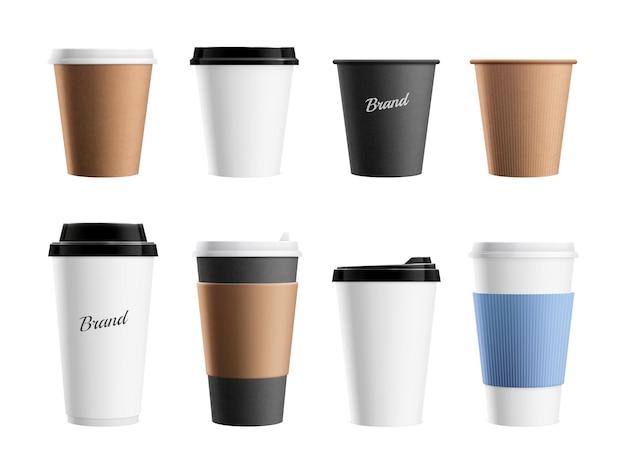 Maquete do copo de papel. modelo de caneca marrom eco para café cappuccino com leite. pacote de bebidas realistas de marca ou conjunto de vetores de recipientes para viagem. ilustração de copo de bebida quente com chá e café