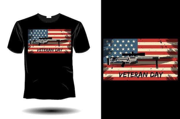 Maquete do dia dos veteranos com design retro vintage