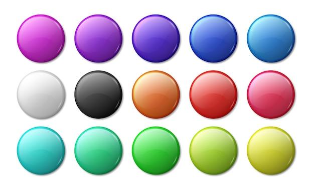 Maquete do emblema redondo. crachá 3d com ímã circular, etiquetas simples de plástico ou metal brilhante.