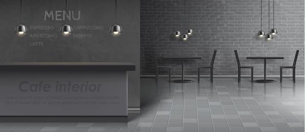 Maquete do interior do café com balcão de bar vazio, mesas e cadeiras de jantar, lâmpadas do teto