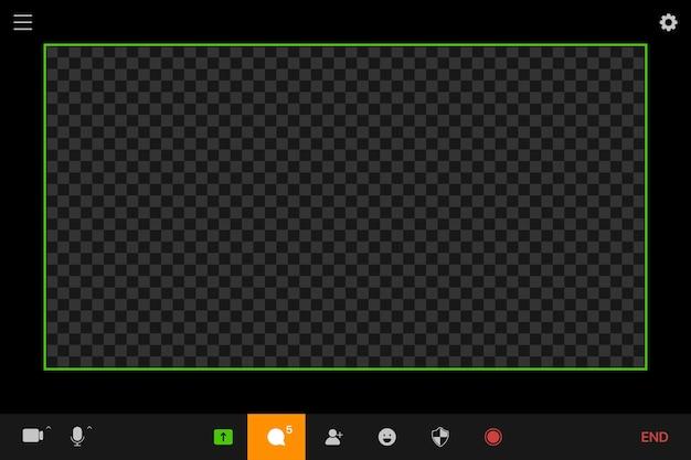 Maquete do modelo de tela de videochamada. conceito de videoconferência e reunião online