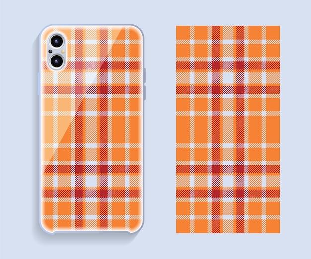 Maquete do projeto da capa do smartphone. padrão geométrico de modelo para a parte traseira do telefone móvel. design plano.