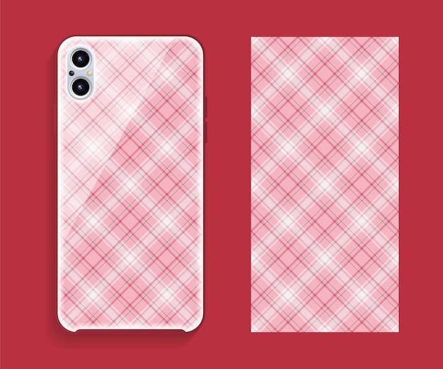 Maquete do projeto da capa do smartphone. padrão geométrico de modelo para a parte traseira do telefone móvel.