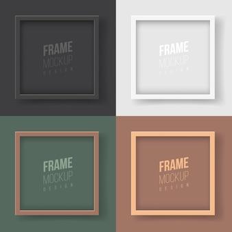 Maquete do quadro. ilustração em vetor plana. uma coleção de molduras simples e elegantes para seu projeto. quatro molduras quadradas monocromáticas para pinturas, fotografias ou certificados de estilo corporativo.