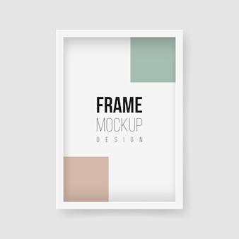 Maquete do quadro. ilustrações planas do vetor. moldura retangular para fotografias em cores monocromáticas. tapete realista de plástico ou moldura de madeira branca com bordas largas e sombra.