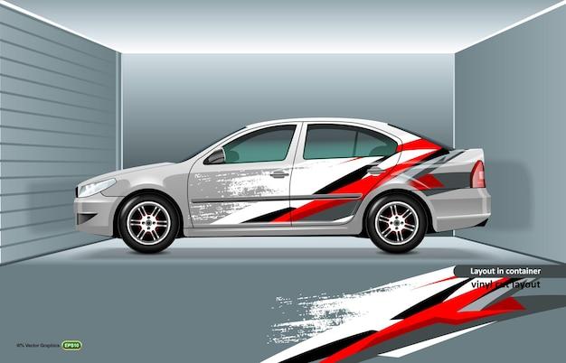 Maquete do sedan branco com design dinâmico nas laterais, para corte ou impressão.