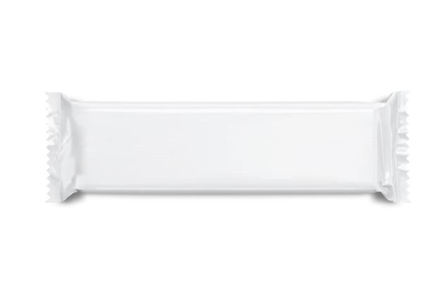 Maquete em branco branco de lanche, embalagem de barra de chocolate Vetor Premium