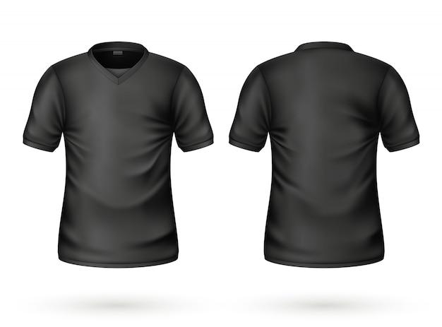 Maquete em branco de vetor realista camiseta preta
