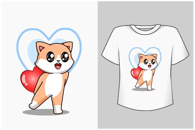 Maquete gatinho com desenho de amor