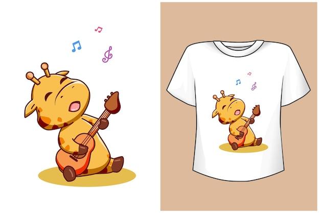 Maquete girafa fofa cantando