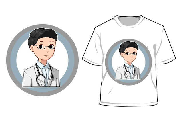 Maquete médico em ilustração de desenho animado do dia do trabalho