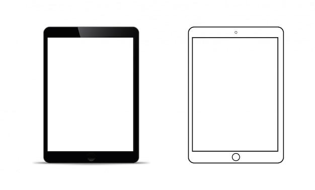 Maquete na frente de um tablet preto que parece realista