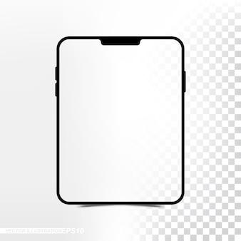 Maquete nova versão tablet com tela transparente e fundo