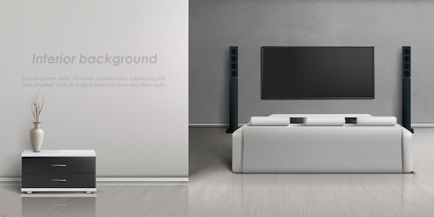 Maquete realista da sala de estar com sistema de home theater moderno.