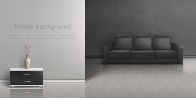 Maquete realista da sala vazia com sofá preto, mesa de cabeceira com vaso