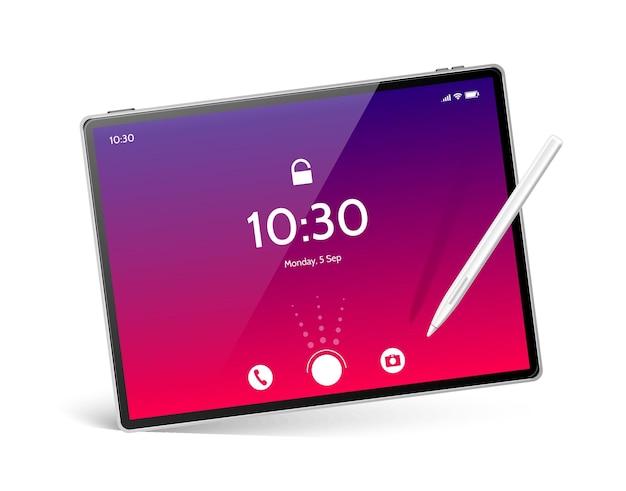 Maquete realista de computador tablet com caneta branca