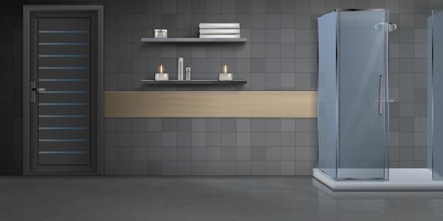 Maquete realista de design de interiores moderna casa de banho