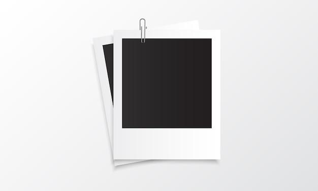 Maquete realista de foto polaroid com clipe de papel
