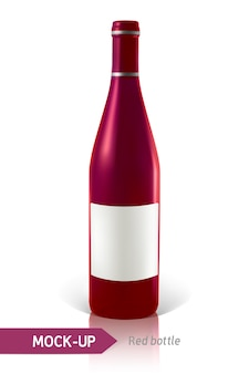Maquete realista de garrafa de coquetel em um fundo branco com reflexão e sombra