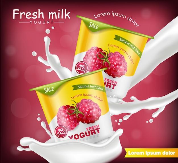 Maquete realista de iogurte de framboesa