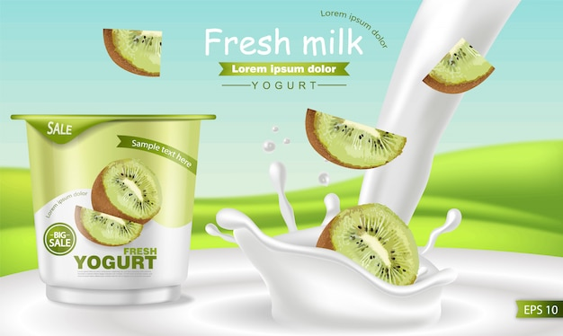 Maquete realista de iogurte kiwi