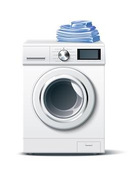 Maquete realista de máquina de lavar com roupas limpas e dobradas