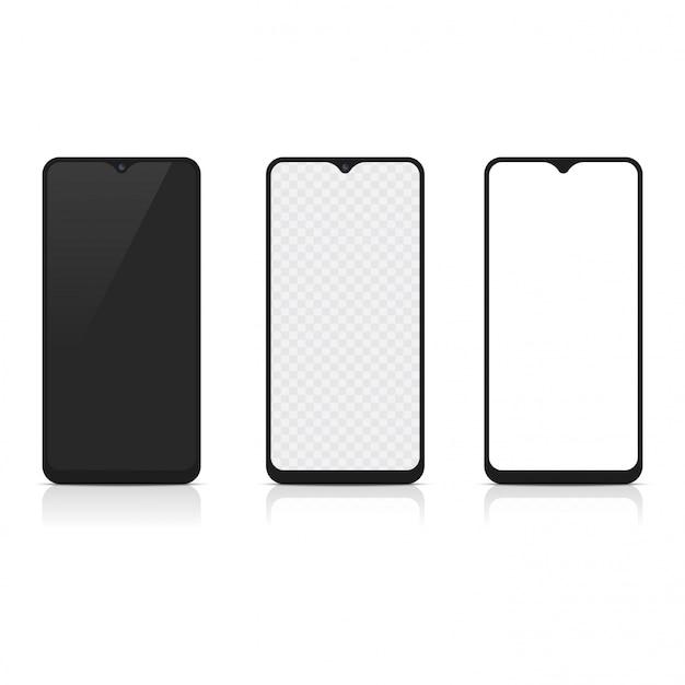 Maquete realista de smartphone com frente e verso. vetor