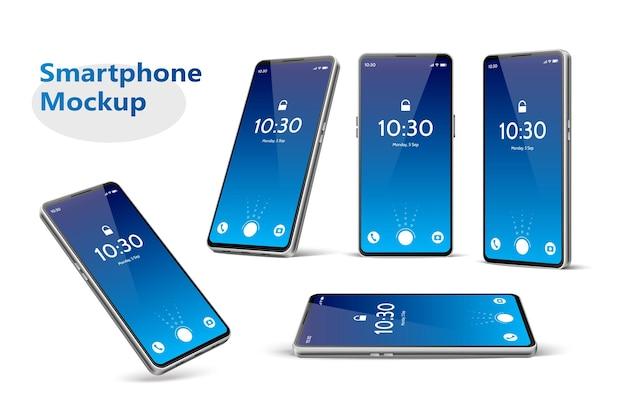 Maquete realista de smartphone sem moldura, várias posições, definir modelo de telefone moderno