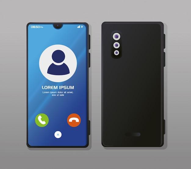 Maquete realista de smartphones, com chamada na tela