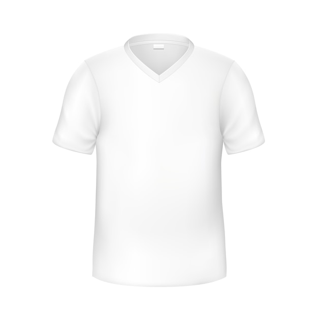 Maquete realista de t-shirt branca. t em branco para a identidade da marca. roupas de promoção. vestuário casual de algodão sem marca.