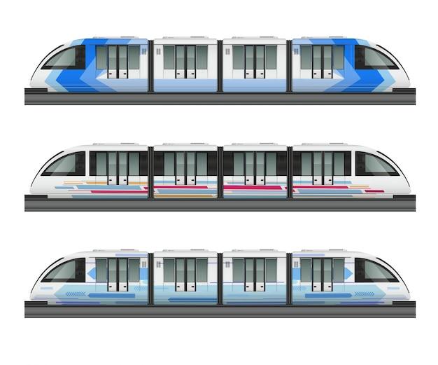 Maquete realista de trem de bonde de passageiros com vista lateral de três trens metropolitanos com várias ilustração de pintura a cores