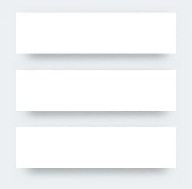 Maquete realista de três panfleto grande. design de cartazes de papel para promoção. maquete realista de papel branco