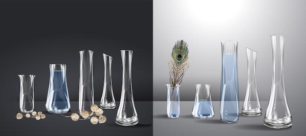 Maquete realista de vaso de vidro vazio copo de cristal isolado para flores ou bebida gelada com formato arredondado