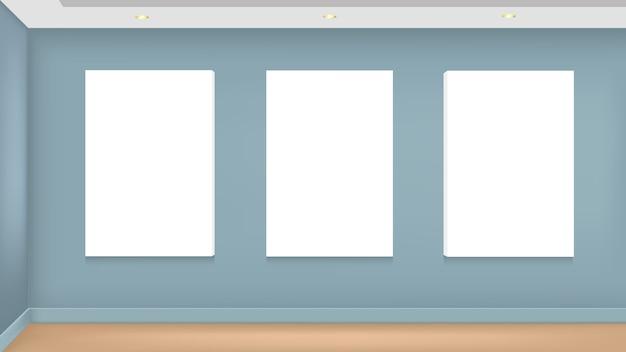 Maquete realista de vetor de imagem branca na parede